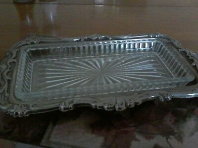 Vintage silver plated open butter dish