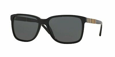 1d32444267ad BURBERRY CHECK BLACK BE4181 58mm POLARIZED FULL SQUARE SUNGLASSES AUTHENTIC  NEW