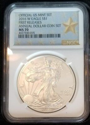 2016 w silver eagle ngc MS70 ANNUAL DOLLARFIRST RELEASEthe rarest only 58