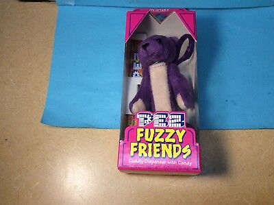 PEZ Fuzzy Friends Cuddly Candy Dispenser Purple Bear - Gilbert Bear New Unopened