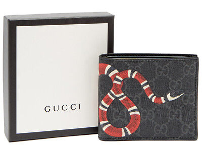 Gucci Wallet King Snake Print GG Supreme Black Leathers With Box Free  Shipping 176335c445ca