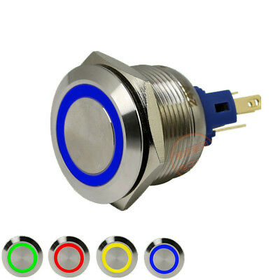 Illuminated Momentary NO+NC 22mm Metal Push Button Switch Silver Contact 250V/5A