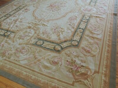 11x16   French Aubusson Style Oriental Area Rug Oversize green brown beige
