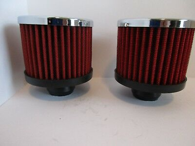 Chrome Valve Cover Breather Pre-Oiled Red Push In Washable Pair #9308Red-2