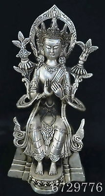 Chinese Collectable Decor Old Miao SIlver Carve Pharaoh Buddha Auspicious Statue