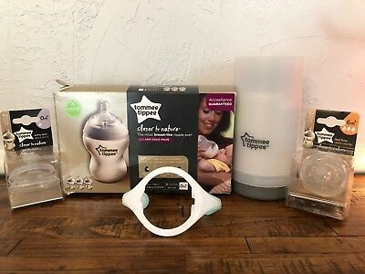 3 Tommee Tippee Closer to Nature Baby Bottles 9oz + 0m 6m Nips Bottle Warmer L76