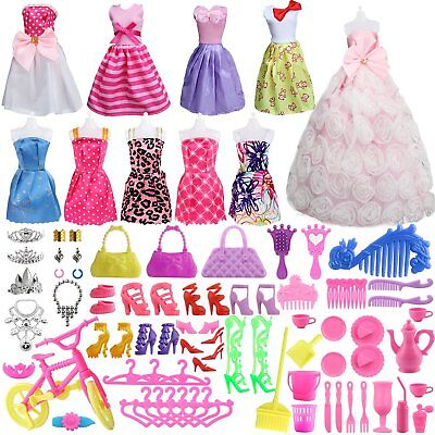 85 Pcs Barbie Doll Clothes Accessories Huge Lot Party Gown Outfits Girl Gift