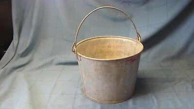 "Vintage Galvanized Steel Pail Chore Bucket Farmhouse 7.75"" T x 10.25"" D"