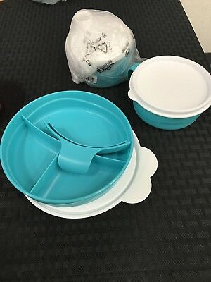 Tupperware Baby Stages Feeding Set. 3 Piece. Teal. Brand New!