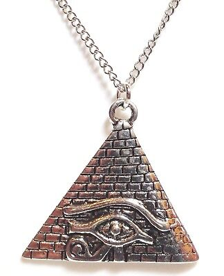 "PYRAMID EYE OF HORUS_Pendant on 18"" Chain Necklace_Ra Ancient Egypt Silver_213N"