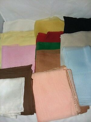 13 Plain Sheer Scarfs Vintage Hand Rolled Edge Ladies Various Size and Color