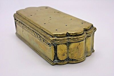 A Distressed Asian Eastern Antique Brass Hinge Vented Box Incense Warming Censer