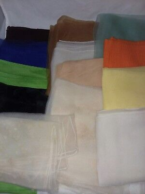 14 Plain Sheer Scarfs Vintage Hand Rolled Edge Ladies Various Size and Color