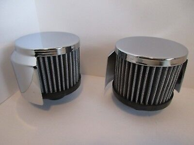 Chrome Washable Valve Cover Breather With Hood Push In Style Pair #9516-2