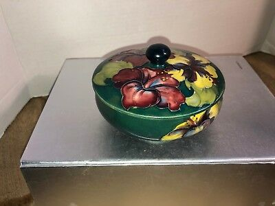 Moorcroft Lidded Round Mint Dresser Box, Stamped made in England