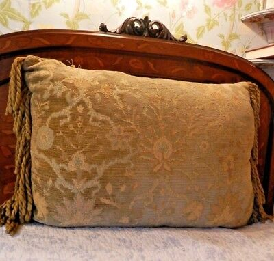 Large Vintage Velvet Jacquard and Silk Sateen Boudoir Cushion, 61 cm x 46 cm