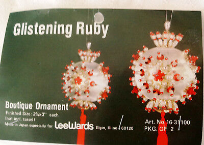 vintage Lee Wards GLISTENING RUBY Sequins Embellished Boutique Ornament KIT 70's