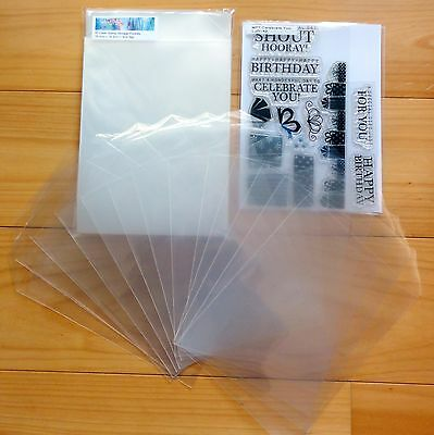 50 x LARGE STAMP STORAGE POCKETS CLEAR PLASTIC PACKAGING 100 MICRON - NEW