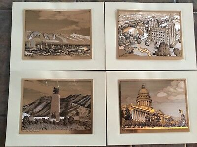 Copper Etched Scenes in Utah, Set of 4 Temple Square, Salt Lake Valley, Capital