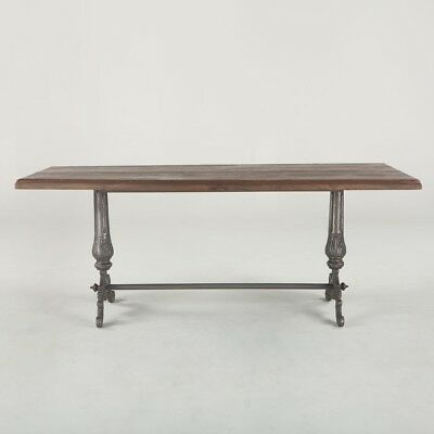 """76"""" L Vintage Dining Table Reclaimed Hand Crafted Hardwood Antique Cast Iron"""