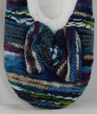 Snoozies! slippers, Blue Artisan Stripe yarn ballerina, SIZE LARGE 9-10 NWT