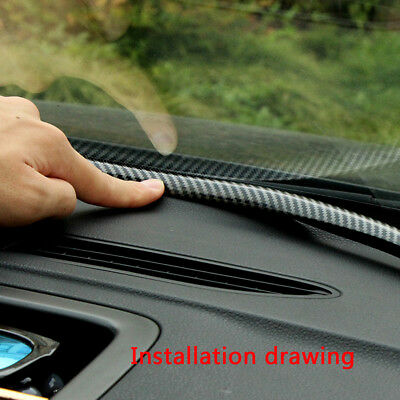1.6M Carbon Fiber Car Universal Dashboard Gap Filling Black Rubber Sealing Strip