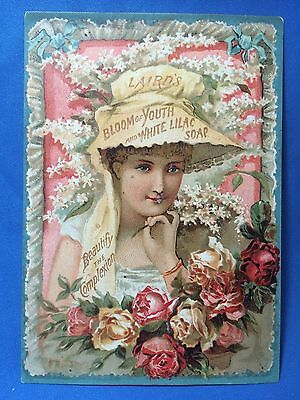 1880s Laird's WHITE LILAC SOAP Victorian Advertising Trade Card Antique Original