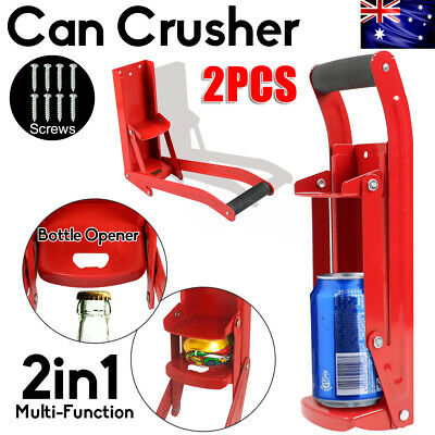 2XCAN CRUSHER Bottle Opener Recycling Cans Kitchenware Soda Beer 16oz Wall Mount