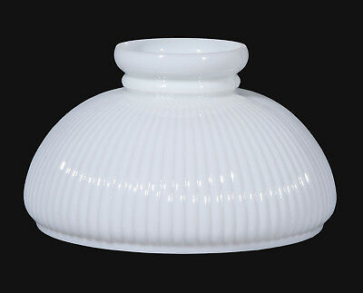 """10"""" ~ OPAL ~ Ribbed Style Student Glass Oil Lamp Shade ~ Plain Top"""