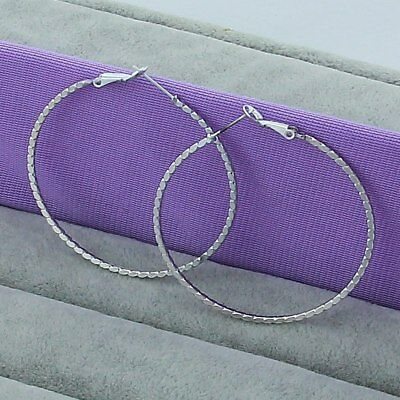 Womens 925 Sterling Silver Elegant 50mm Large Round Vogue Hoop Earrings #E291