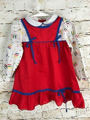 e0e9100a54 Sears Toddler Girl 3T Vintage School Dress Long Sleeve Red Crayons Printed