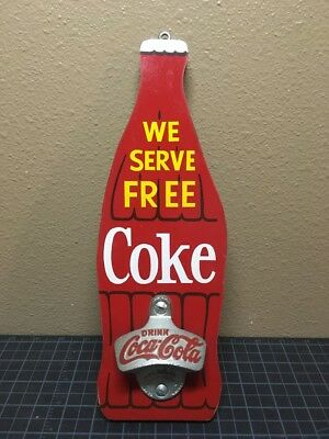 Drink Coca Cola Coke Wall Mount Bottle Opener Wood Wall Hanging Sign Red