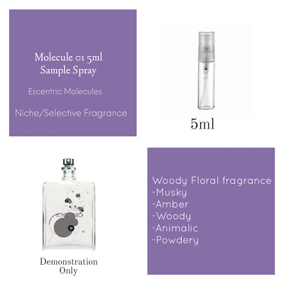 Molecule 01 by Escentric Molecules  EDT:  5ml  Sample Spray Atomiser
