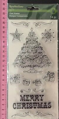 Recollections Clear Stamps Set 14pc Christmas Tree Presents Merry Snowflakes