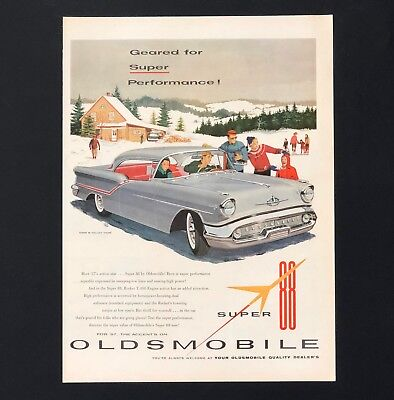 1957 Oldsmobile Super 88 Holiday Coupe Advertisement Snow Car Vintage Print AD