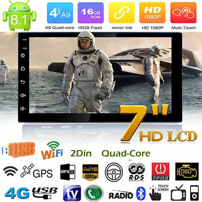 "2 Din 7"" HD Quad Core GPS Navi Car Stereo MP5 Player AM FM Radio Android 8.1"