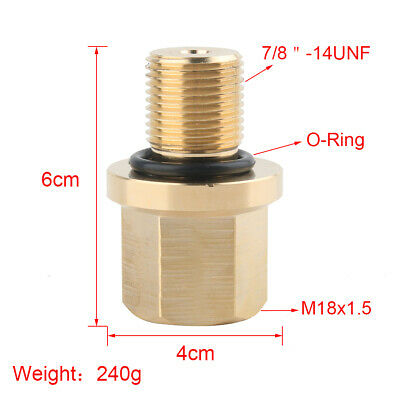 Aluminum 7/8x14 UNF Male to M18x1.5 Female Fitting Adapter+O-Ring For PCP Tank