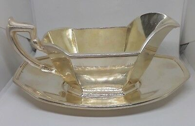 Antique Gorham EP Silverplate 8 oz Gravy Sauce Boat 0927 and Underplate 0928