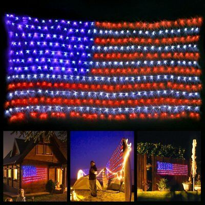 Red White Blue Patriotic American Flag Outdoor LED Net Fourth July String Lights