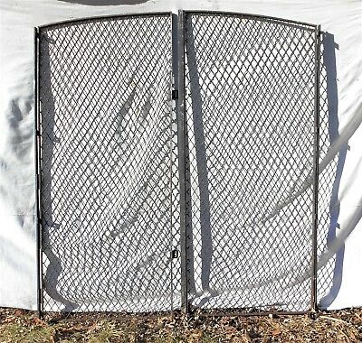 Large Pair Of Wrought Iron Diamond Wire Mesh Arch Top Industrial Garden Gates