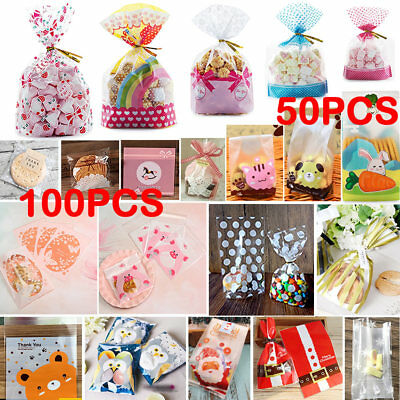 50/100pcs Self Adhesive Clear Cellophane Favour Cookie Bags Cello Candy Gift Bag