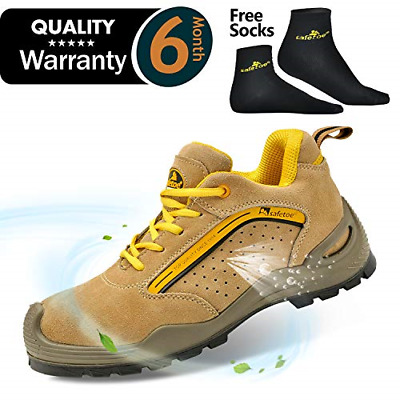 SAFETOE Men Steel Toe Work Shoes Lightweight Lace Up Leather Work Trainer Safety