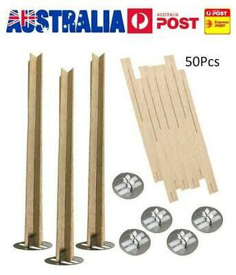 50pcs Wood Candle Wicks Sustainer DIY Waxed Making Home Church Natural With Tabs