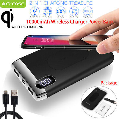 Qi Wireless Charger 10000mAh Power Bank External Battery for iPhone Samsung LG