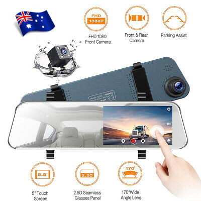 """TOGUARD Backup Camera 8"""" Mirror Dash Cam 1080p Dual Lens Touch Screen RearView"""