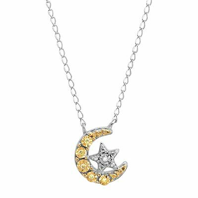 Moon & Star Necklace with Diamonds in Sterling Silver & Gold Plate, 17""