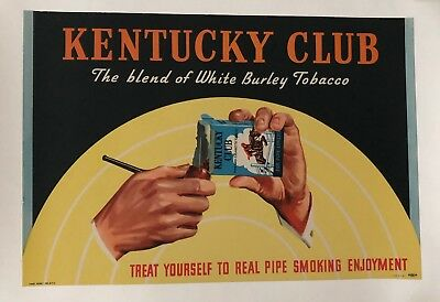 Original Vintage Poster Kentucky Club The blend of White Burley Tobacco; ca.1948