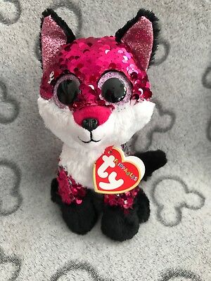 "c97a000b0a5 NEW RARE TY BEANIE BOO BOOS FLIPPABLES JEWEL FOX SOFT SEQUIN PLUSH TOY 10""  Med"
