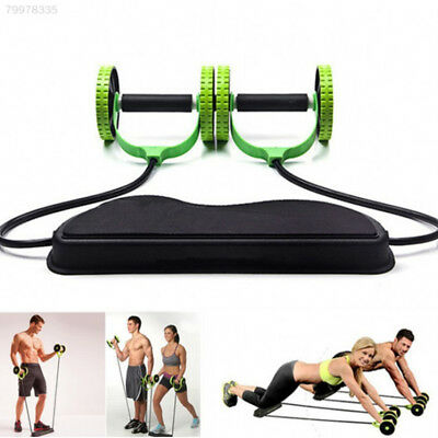 69CB Dual Wheels Roller Sports Elastic Abdominal Resistance Pull Rope Exercise