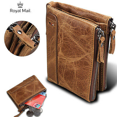 Luxurious 100% Genuine RFID Bifold Leather Wallet With Zip Cash Coin Pocket Mens